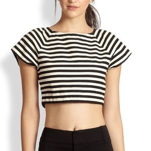 Alice & Olivia Connelly Striped Zip-back Crop Top